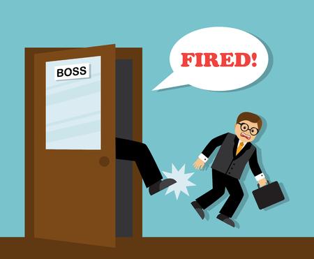 The bosss foot kicks the unnecessary employee-businessman