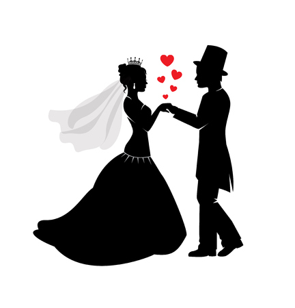 Black silhouettes of the bride and groom in wedding dresses Illustration