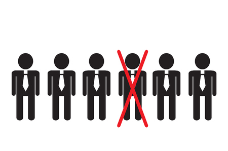 Simple sketchy office workers are standing in a row. One of the businessmen crossed out with a red line