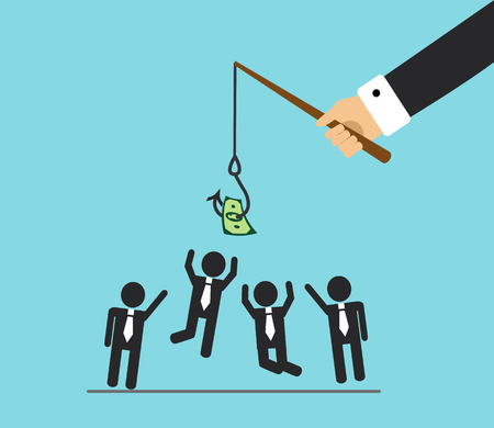 The hand will bite the fishing rod. The hook hangs money and office workers jump, they want to do the work and get money Illustration