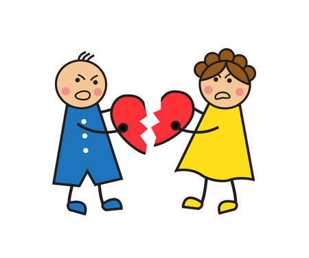 Cartoon a couple quarrel, cry and tear heart