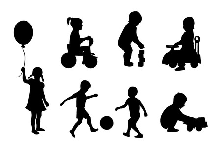 Set of black silhouettes playing children on a white background Çizim