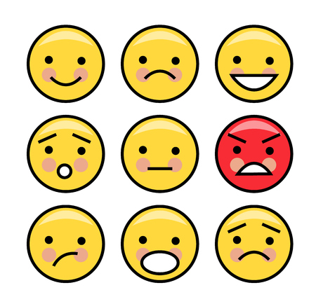 Set of simple yellow emoticons on a white background