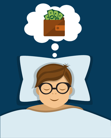 Office worker sleeps and sees in a dream a wallet with money and business success Illustration