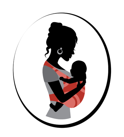 Silhouette of a woman holding a baby in a sling Illustration
