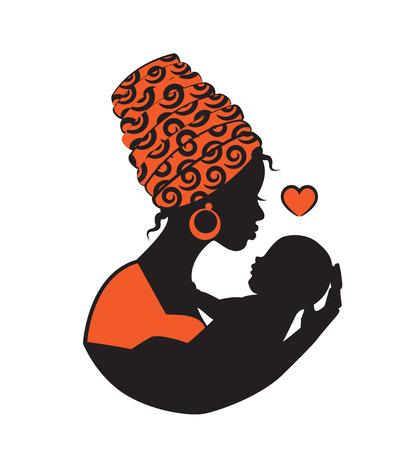 Silueta de una mujer africana negra en un pañuelo que sostiene a un niño en una honda