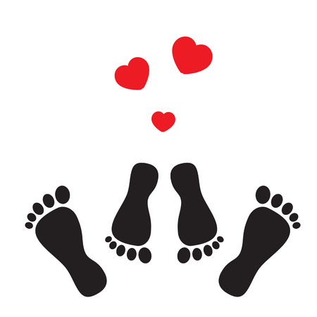 Feet symbolizing the business of sex and hearts
