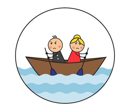 conquering adversity: The cartoon couple is sitting in the dock and rowing in different directions. A picture symbolizes a dispute and the inability to accept the opinion of another person