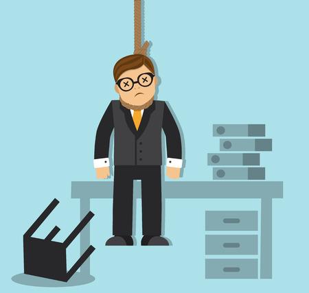 ビジネスマンは疲れて、失敗のオフィスで自分自身をぶら下げ