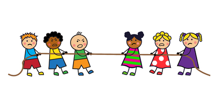 Cartoon kids boys and girls pull the rope illustration.