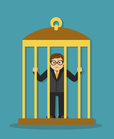Sad businessman is locked in a cage and holds his hands behind bars