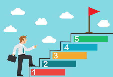 A businessman walks the steps, sets himself tasks and achieves the final goal-flag