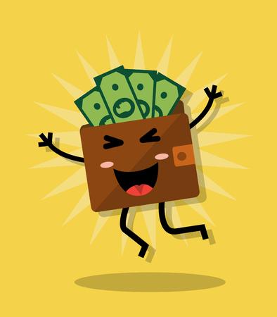 Happy cartoon jumping purse with money Illustration