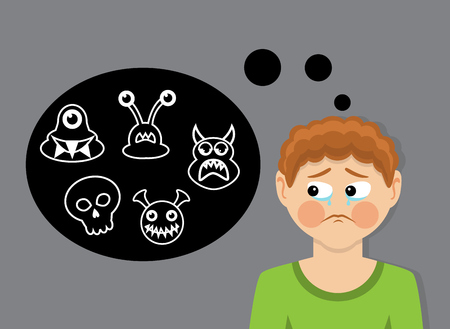 The boy with tears represents the monsters and is afraid Illustration