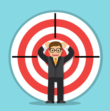 rejected: Scared businessman stands and screams in the center of the target