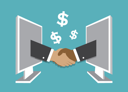 Hands sticking out of computers and doing a handshake and making a deal Illustration
