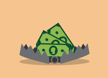 In the open iron trap lies money Illustration