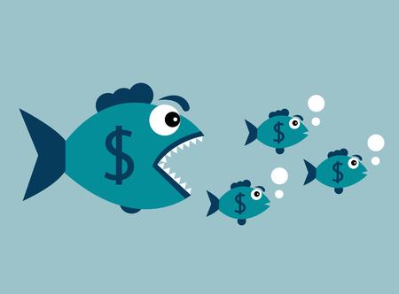 달러 배지가있는 큰 물고기가 작은 물고기를 먹고 싶어합니다. 일러스트