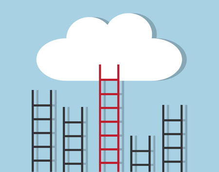 A few stairs stand in a row and only a red staircase gets to the target cloud