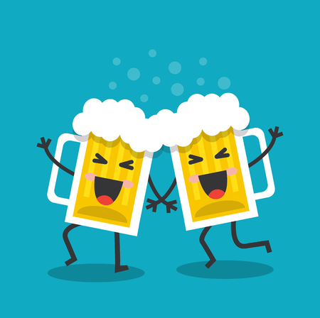 beer stein: Two merry and happy mugs with beer dancing and singing