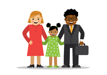 Mixed family of different races White mom black dad and baby mulatto Illustration