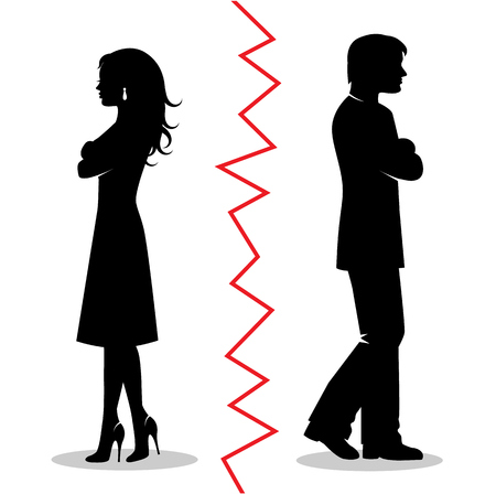 Silhouettes of a couple quarreled and turned away from each other and between the pair a red line
