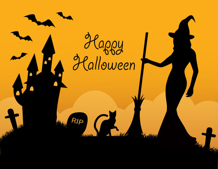 A black silhouettes halloween symbol on orange background