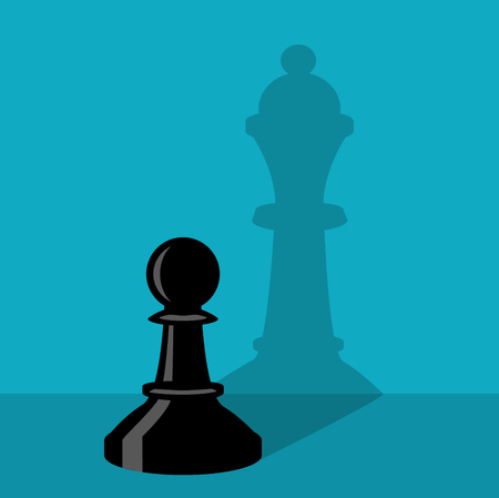 A chess pawn is standing by the wall and a pawn thinks she is a queen with shadow on the wall