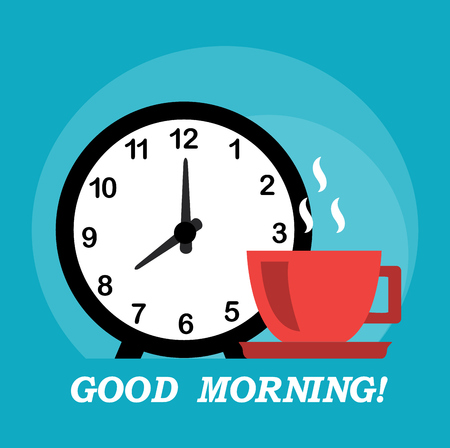 Good morning wish with a cup and alarm clock