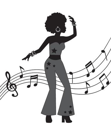 silueta negra de mujer en estilo discoteca. Una mujer baila y está vestida con pantalones acampanados y tiene el pelo rizado