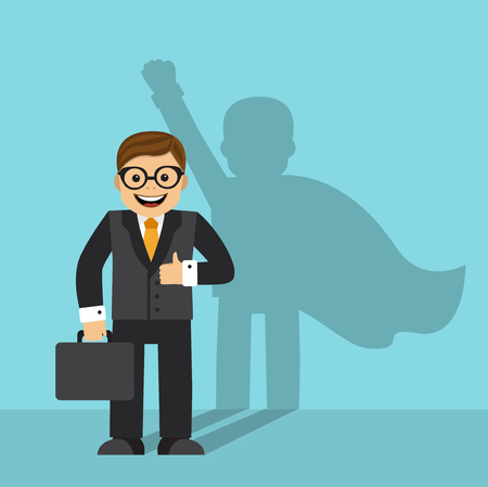 The businessman is standing on the wall in the cloak of a superhero