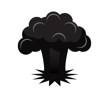 black silhouette explosion of an atomic bomb on a white background Illustration