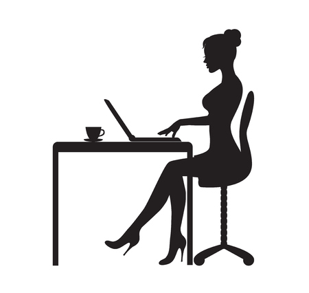 black silhouette of a woman sitting at a table with a laptop. On the table is a mug with tea Illustration