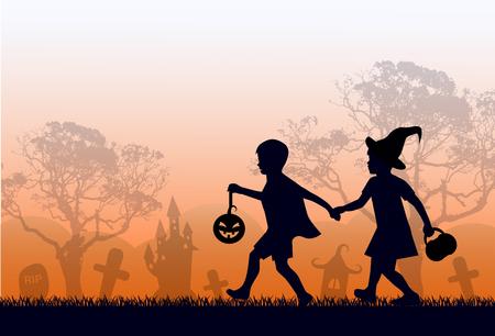 Regenbogen-Skyline, Skyline und Bäume. Kinder eilen zu Halloween
