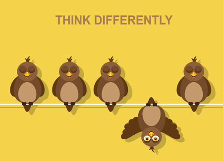un grupo de pájaros se sienta en los cables con los ojos cerrados. Al revés Ilustración de vector