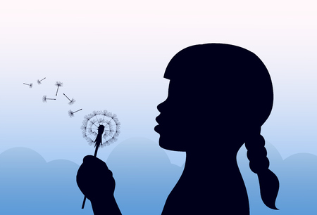 silhouette of girl with pigtail