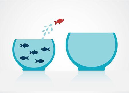blue fish in a cramped aquarium. One red fish decided to jump into a large aquarium Ilustracja