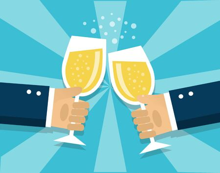 human hands hold champagne glasses and celebrate the holiday
