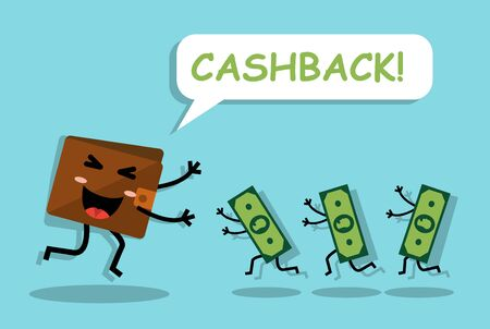 joyful cute cashback money returned to a happy wallet