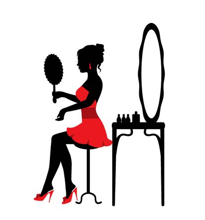silhouette of a beautiful woman sitting by the mirror and looking