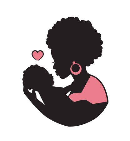 silhouette of african black curly mom with a baby in her arms and a heart