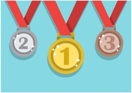 three silver and bronze gold medals on red ribbons for winners