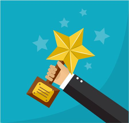 hand holds a golden star award on a stand