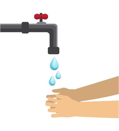 water flows from the faucet and people wash their hands Ilustração