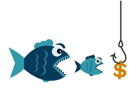 ein Dollar hängt an einem Haken und ein kleiner Fisch will einen Dollar essen und ein großer Fisch will einen kleinen Fisch essen