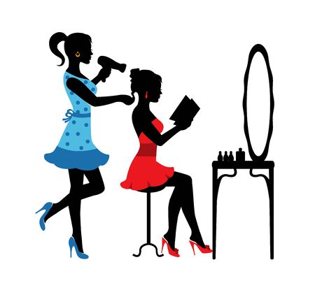 a woman silhouettes sits in front of a mirror in a hairdresser and another woman does her hairstyle