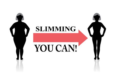 a fat female silhouette goes on a diet and becomes thin. Red arrow and motivate text Çizim