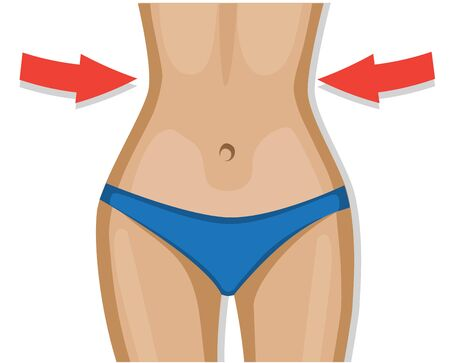 female figure in a blue swimsuit losing weight and narrowing the waist with red arrows Illustration