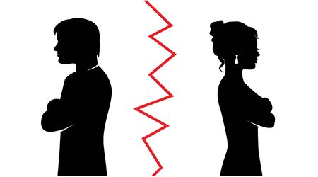 silhouettes of a heterosexual couple quarreled and turned away from each other and between the pair a red line  イラスト・ベクター素材