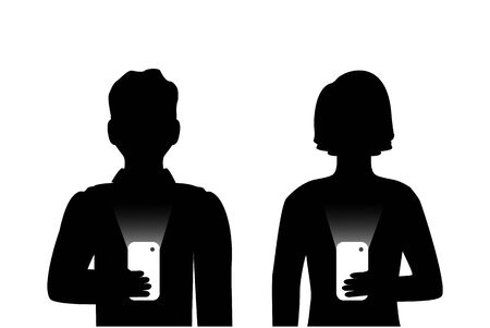 Silhouettes of men and women holding phones in their hands and do not communicate with each other. They are Internet addicts  イラスト・ベクター素材